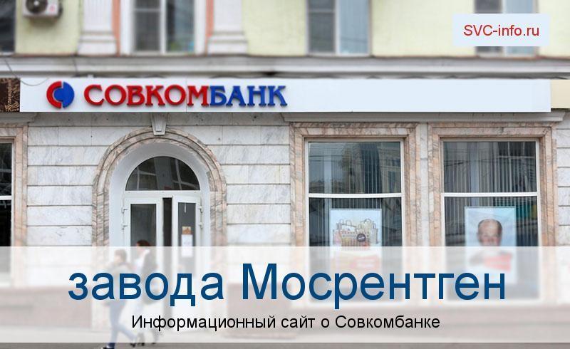 Банкоматы и отделения в городе завода Мосрентген